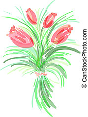 tulip - Bouquet of tulip. Eps 10 vector illustration in...