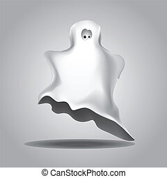 White Halloween ghost - Cute funny Halloween ghost covered...