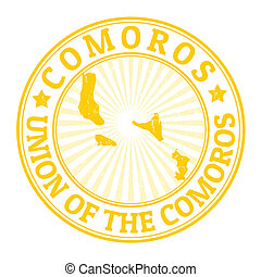 Comoros stamp - Grunge rubber stamp with the name and map of...