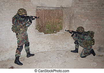 waiting - image of two soldiers that waiting on hiding place