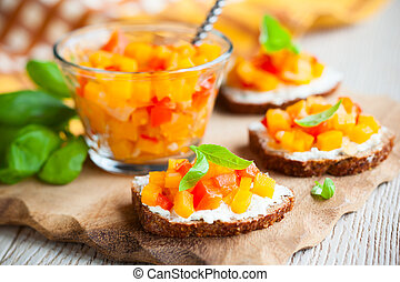 toast with pumpkin chutney - toast with pumpkin and red bell...