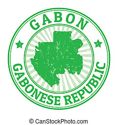 Gabon stamp - Grunge rubber stamp with the name and map of...