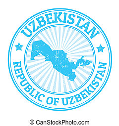 Uzbekistan stamp - Grunge rubber stamp with the name and map...