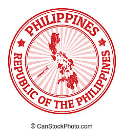 Philippines stamp - Grunge rubber stamp with the name and...