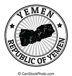 Yemen stamp - Grunge rubber stamp with the name and map of...