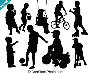 Set of child silhouettes on white background, vector...