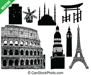 Set of famous buildings silhouette- travel and landmarks, on...