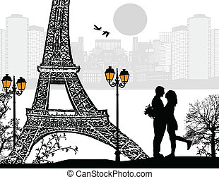 Lovers in Paris at night, vector illustration