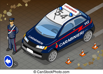 Isometric Italian Carabinieri Police Car - Detailed...