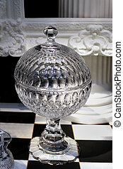 Crystal bowl - Vintage transparent luxury crystal decorative...
