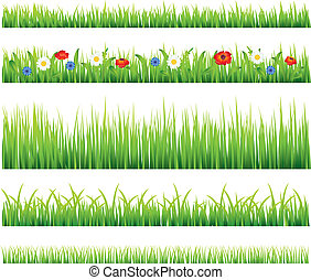 Green grass and flowers vector set