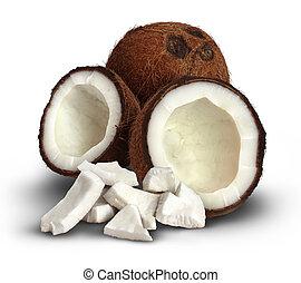 kokosnuss, auf, a, weißes, hintergrund