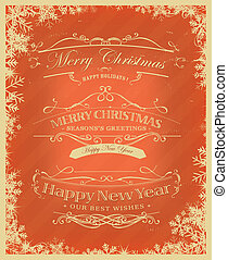 Merry Christmas Retro Background - Illustration of a vintage...