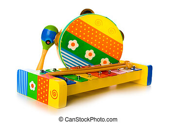 Musical instruments toys - Musical instruments on white...