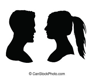 male and female silhouette - male and female head...