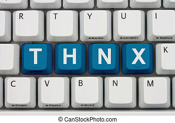 Thank You - Computer keyboard keys with word THNX, Thank You