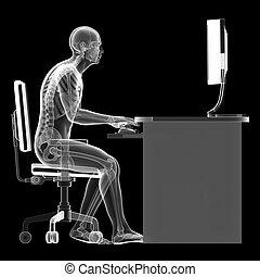 errado, sentando, postura