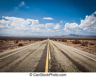 Old Route 66 - Close to Amboy (USA). Old part of Route 66 in...