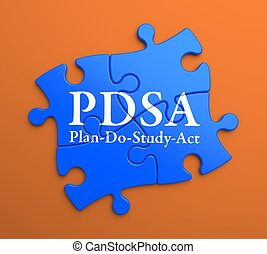 PDSA on Blue Puzzle Pieces Business Concept - PDSA -...