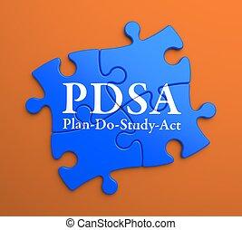 PDSA on Blue Puzzle Pieces. Business Concept. - PDSA -...