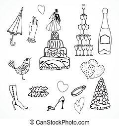 Wedding set of cute hand drawn icons - Wedding cute hand...