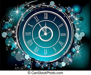 Happy New Year background silver and blue