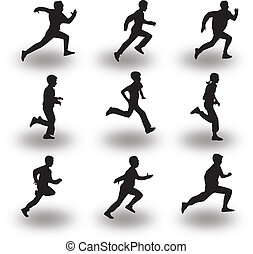 runner silhouette vector - group of nine runners silhouette...