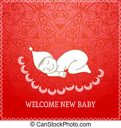 New baby red shower invitation Vector illustration