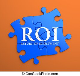 ROI on Blue Puzzle Pieces. Business Concept. - ROI - Return...