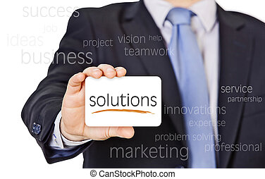 business card offer solutions - businessman offer solutions...