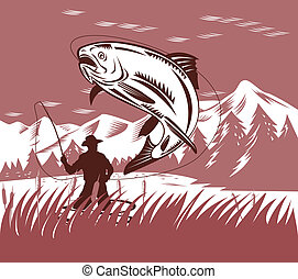 Fly Fisherman catching a leaping trout - Illustration on fly...