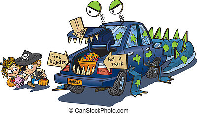 Two Kids Trunk or Treating - A vector clip art cartoon of...