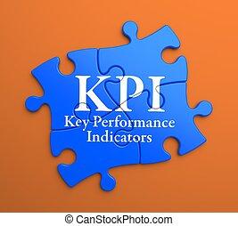 KPI on Blue Puzzle Pieces. Business Concept. - KPI - Key...