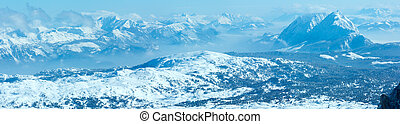 Winter Dachstein mountain massif panorama