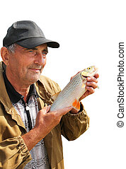 chub in the hand of fisherman isolated over white - chub in...