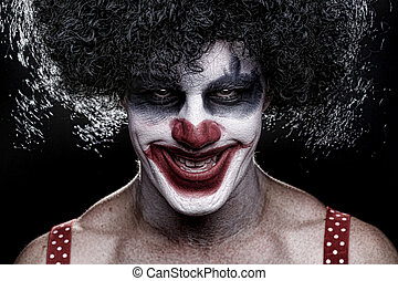 Spooky Clown Portrait on Black Background