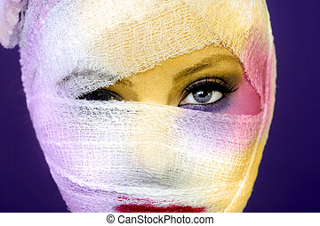 Extreme Beauty Concept of Heavy Makeup Seeping Through Gauze...