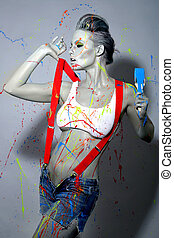 Female House Painter Splattered with Latex Paint - Sexy...