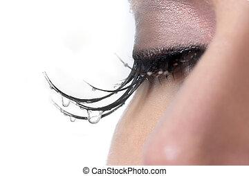 mujer, con, lágrimas, goteo, ella, Pestañas