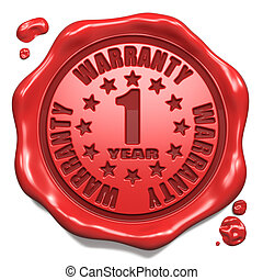 Warranty 1 Year - Stamp on Red Wax Seal - Warranty 1 Year -...