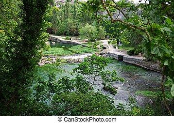 Fontaine de Vaucluse, France - Sorgue river clean green...