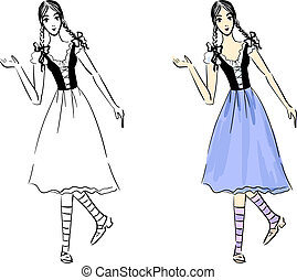 Folklore girl - Eps 10 vector sketch of a folklore girl. Two...