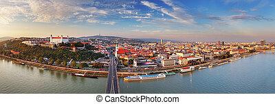 Bratislava panorama - Slovakia - Bratislava panorama at a...