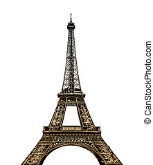 Eiffel Tower in Paris on white background