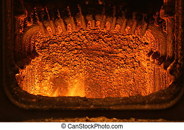 Fireplace with fire - Fire in furnace