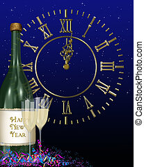 champagne bottle for New Year