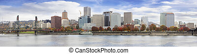 Portland Oregon Downtown Waterfront Fall Skyline - Portland...