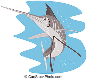 Blue marlin jumping - Illustration on marlins