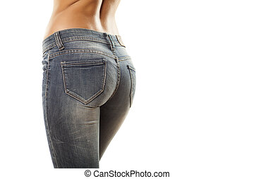 tight jeans - pretty women 's ass in tight jeans on white...