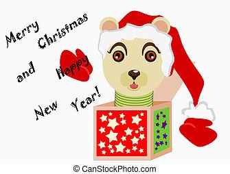 orso augurale - cartolina di auguri natalizi con orso...